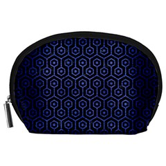 Hexagon1 Black Marble & Blue Brushed Metal Accessory Pouch (large) by trendistuff