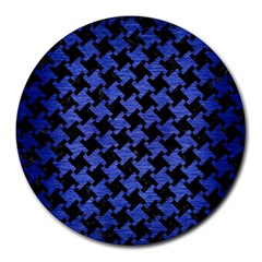 Houndstooth2 Black Marble & Blue Brushed Metal Round Mousepad by trendistuff