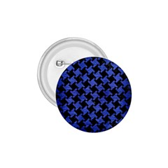Houndstooth2 Black Marble & Blue Brushed Metal 1 75  Button by trendistuff