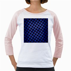Houndstooth2 Black Marble & Blue Brushed Metal Girly Raglan by trendistuff