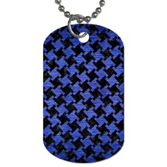 Houndstooth2 Black Marble & Blue Brushed Metal Dog Tag (two Sides) by trendistuff