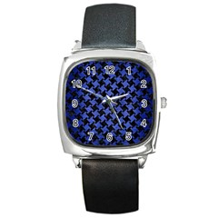 Houndstooth2 Black Marble & Blue Brushed Metal Square Metal Watch by trendistuff