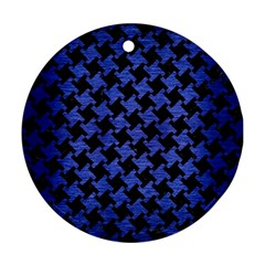 Houndstooth2 Black Marble & Blue Brushed Metal Round Ornament (two Sides) by trendistuff