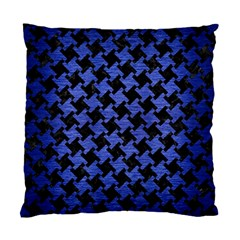 Houndstooth2 Black Marble & Blue Brushed Metal Standard Cushion Case (one Side) by trendistuff
