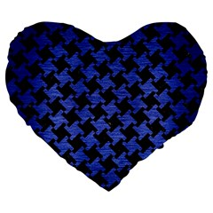 Houndstooth2 Black Marble & Blue Brushed Metal Large 19  Premium Flano Heart Shape Cushion by trendistuff