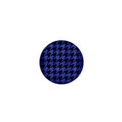 Houndstooth1 Black Marble & Blue Brushed Metal 1  Mini Button by trendistuff
