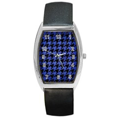Houndstooth1 Black Marble & Blue Brushed Metal Barrel Style Metal Watch by trendistuff