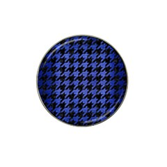 Houndstooth1 Black Marble & Blue Brushed Metal Hat Clip Ball Marker (10 Pack) by trendistuff