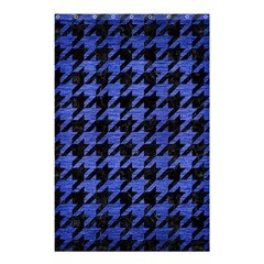 Houndstooth1 Black Marble & Blue Brushed Metal Shower Curtain 48  X 72  (small) by trendistuff