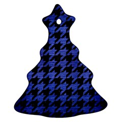 Houndstooth1 Black Marble & Blue Brushed Metal Christmas Tree Ornament (two Sides) by trendistuff