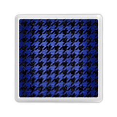 Houndstooth1 Black Marble & Blue Brushed Metal Memory Card Reader (square) by trendistuff
