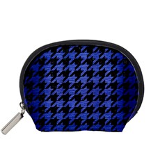 Houndstooth1 Black Marble & Blue Brushed Metal Accessory Pouch (small) by trendistuff