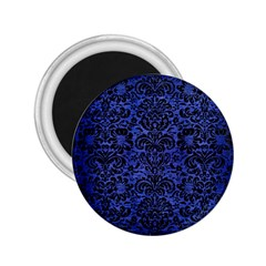 Damask2 Black Marble & Blue Brushed Metal (r) 2 25  Magnet by trendistuff