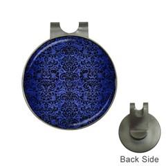 Damask2 Black Marble & Blue Brushed Metal (r) Golf Ball Marker Hat Clip by trendistuff