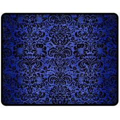 Damask2 Black Marble & Blue Brushed Metal (r) Fleece Blanket (medium) by trendistuff