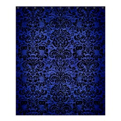 Damask2 Black Marble & Blue Brushed Metal (r) Shower Curtain 60  X 72  (medium) by trendistuff