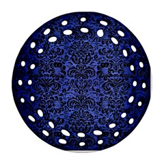 Damask2 Black Marble & Blue Brushed Metal (r) Round Filigree Ornament (two Sides) by trendistuff