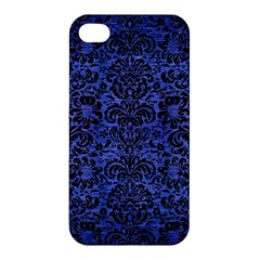 Damask2 Black Marble & Blue Brushed Metal (r) Apple Iphone 4/4s Hardshell Case by trendistuff