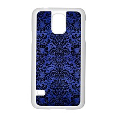 Damask2 Black Marble & Blue Brushed Metal (r) Samsung Galaxy S5 Case (white) by trendistuff