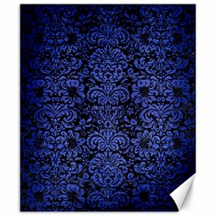 Damask2 Black Marble & Blue Brushed Metal Canvas 20  X 24  by trendistuff