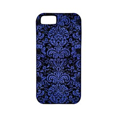 Damask2 Black Marble & Blue Brushed Metal Apple Iphone 5 Classic Hardshell Case (pc+silicone) by trendistuff