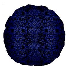 Damask2 Black Marble & Blue Brushed Metal Large 18  Premium Round Cushion  by trendistuff