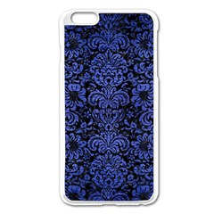 Damask2 Black Marble & Blue Brushed Metal Apple Iphone 6 Plus/6s Plus Enamel White Case by trendistuff