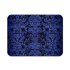 Damask2 Black Marble & Blue Brushed Metal Double Sided Flano Blanket (mini) by trendistuff