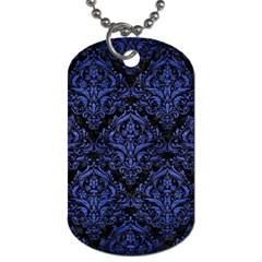 Damask1 Black Marble & Blue Brushed Metal Dog Tag (two Sides) by trendistuff