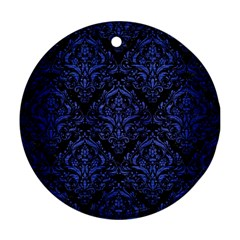 Damask1 Black Marble & Blue Brushed Metal Round Ornament (two Sides) by trendistuff