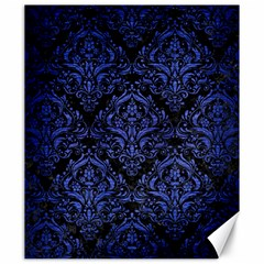 Damask1 Black Marble & Blue Brushed Metal Canvas 20  X 24  by trendistuff