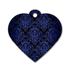 Damask1 Black Marble & Blue Brushed Metal Dog Tag Heart (one Side) by trendistuff