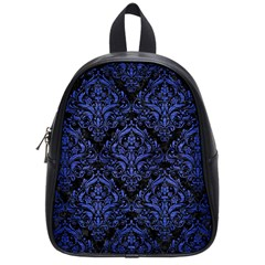 Damask1 Black Marble & Blue Brushed Metal School Bag (small) by trendistuff