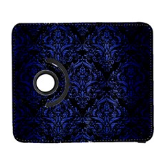 Damask1 Black Marble & Blue Brushed Metal Samsung Galaxy S  Iii Flip 360 Case by trendistuff