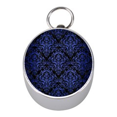 Damask1 Black Marble & Blue Brushed Metal Silver Compass (mini) by trendistuff