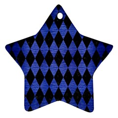 Diamond1 Black Marble & Blue Brushed Metal Ornament (star)