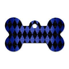 Diamond1 Black Marble & Blue Brushed Metal Dog Tag Bone (one Side) by trendistuff