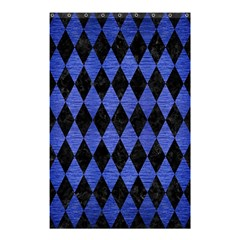 Diamond1 Black Marble & Blue Brushed Metal Shower Curtain 48  X 72  (small) by trendistuff