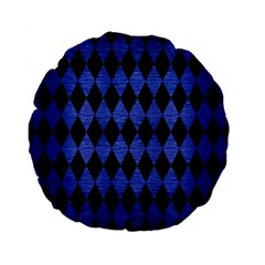 Diamond1 Black Marble & Blue Brushed Metal Standard 15  Premium Flano Round Cushion  by trendistuff