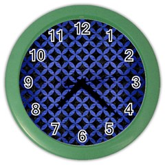 Circles3 Black Marble & Blue Brushed Metal Color Wall Clock by trendistuff