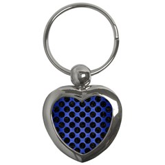 Circles2 Black Marble & Blue Brushed Metal (r) Key Chain (heart) by trendistuff