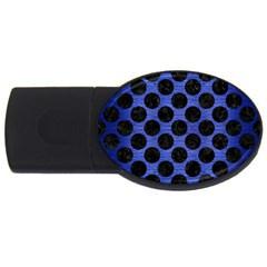 Circles2 Black Marble & Blue Brushed Metal (r) Usb Flash Drive Oval (4 Gb) by trendistuff