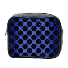 Circles2 Black Marble & Blue Brushed Metal (r) Mini Toiletries Bag (two Sides) by trendistuff