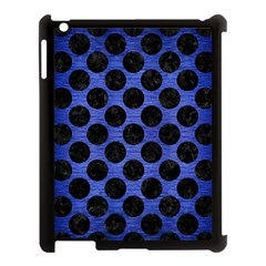 Circles2 Black Marble & Blue Brushed Metal (r) Apple Ipad 3/4 Case (black) by trendistuff