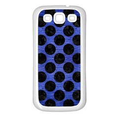 Circles2 Black Marble & Blue Brushed Metal (r) Samsung Galaxy S3 Back Case (white) by trendistuff