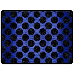 Circles2 Black Marble & Blue Brushed Metal (r) Double Sided Fleece Blanket (large) by trendistuff