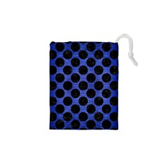 Circles2 Black Marble & Blue Brushed Metal (r) Drawstring Pouch (xs)