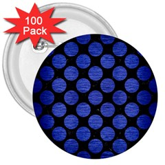 Circles2 Black Marble & Blue Brushed Metal 3  Button (100 Pack) by trendistuff