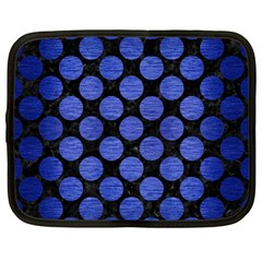 Circles2 Black Marble & Blue Brushed Metal Netbook Case (large) by trendistuff