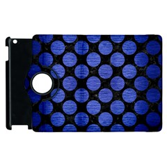Circles2 Black Marble & Blue Brushed Metal Apple Ipad 3/4 Flip 360 Case by trendistuff